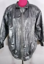 Wippette Rainthings Womens Raincoat/Jacket Size M Vinyl Silver Reptile Snake