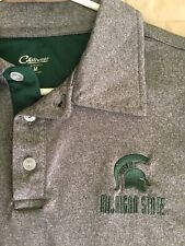 Men's Shirt Polo Golf Sz M MICHIGAN STATE FOOTBALL CHILL WEAR Grey Poly 👍🏻