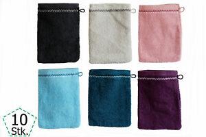 10er Pack Waschhandschuhe  Baumwolle Frottier Waschlappen Seiftuch Wellness SPA