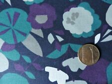 100% Cotton Fabric - Flowers in Plum, Teal, and Gray  - By The Yard