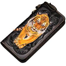 Men Clutch Long Wallet Genuine Leather Handbag Purse Phone Card Case Hand-Carved