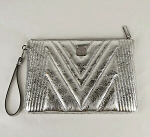 $625 New MCM Metallic Silver Quilted Leather Wristlet Zip Pouch MYZ9SPA25SA001