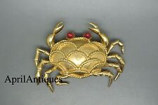 Vintage Marcel Boucher red cabochon glass gold-tone Crab brooch