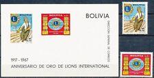 BOLIVIA 1967 LIONS INT'L + S/S SC#492,C273+273A MNH pre-COLUMBIAN INDIANS (B-AL)