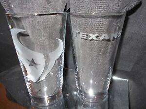 HOUSTON TEXANS 2 ETCHED LOGO PINT GLASSES 16oz MULTIPLE LOGOS NEW