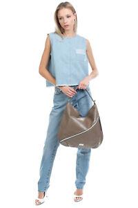 RRP €175 BLUGIRL BLUMARINE Hobo Bag Large Front Pocket Logo Detailing Zipped