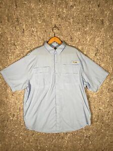 Columbia PFG Mens Button Down Fishing Shirt Size XL - Light Blue Fishing/Hiking