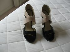 Ladies High Heel Shoes Fawn & Black Man Made Material  Size 41  Design  Fiebiger