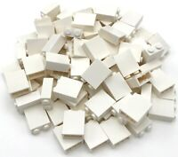 Lego 100 New White Bricks 1 x 2 x 2 with Inside Stud Holder Pieces