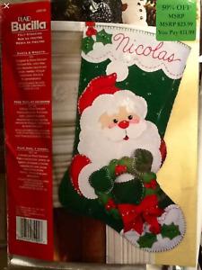 "BUCILLA  FELT SANTA  & WREATH CHRISTMAS  PERSONALIZE STOCKING KIT 18"" RETIRED"