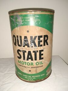 Vintage  Quaker State 5 Quart Pennsylvania Seal Motor Oil Can