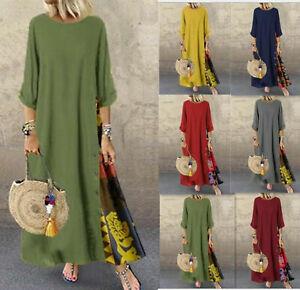 Womens Baggy Maxi Dress Ladies Casual Loose Short Sleeve dress Kaftan Plus Size