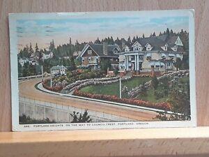 White border post card, Portland Heights, Portland, Oregon