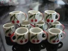 10 Mug Coffee Cherry Hand Painted Dollhouse Miniatures Ceramic Food (S)