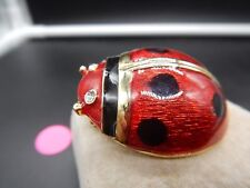 Eyes Pin Pendant Enamel Vintage Enamelet Ladybug Brooch Ringstone