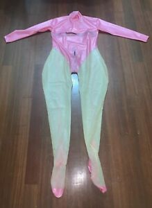 Bidding Latex Catsuit Rubber Gummi 2-way chest crotch step-zipper socks 0.4mm XL