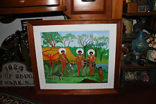 Superb Oil Painting Of Aborigines Tribal People-Signed Mate' 82-Colorful Village