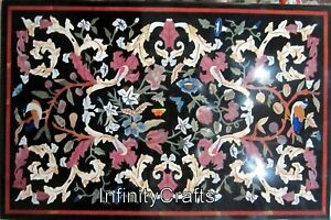 30 Inch Marble Coffee Table Top Floral Design Inlaid Luxurious Look Sofa Table