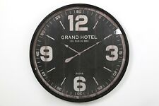 LARGE BLACK IRON METAL ANTIQUE STYLE GRAND HOTEL ROUND WALL CLOCK