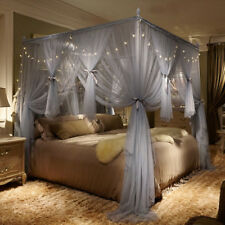 AU Mosquito-proof Thincken Bedroom Bed Curtain Canopy & Bracket Post King Size