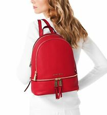 Michael Kors Backpack Bag Rhea Md Backpack Bright Red New 30S5GEZB1L