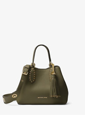 New Michael Kors Olive Green Brooklyn Small Leather Tote Satchel Bag - NWT $358