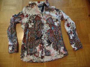 Otto Kern Bluse Hemd Paisley weiß blau rot bunt Gr. 42 40 L XL