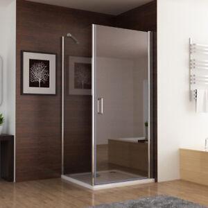 Duschkabine Eckeinstieg Dusche 180° Schwingtür  Duschwand Seitenwand  NANO