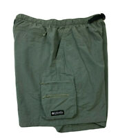 Mens Columbia Cargo Shorts Size L Nylon Hiking Casual - Dark Sea Green EUC