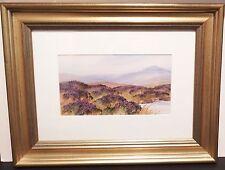 Lovely Framed Gouache Painting Depicting Moorland Landscape Signed Carlisle v1