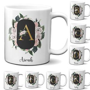 Personalised Floral Frame Gold Floral Name Initial Letter Mug Gift 11oz Ceramic