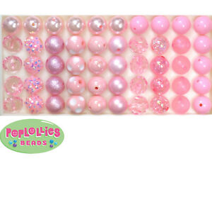 12mm Pink Acrylic Mixed Style Bubblegum Beads Lot 50 pc.chunky gumball