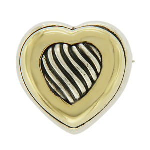 Auth David Yurman 18K Yellow Gold & Sterling Silver Heart Pin Brooch »U46
