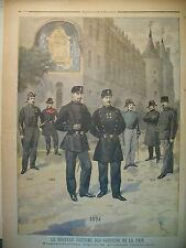 POLICE POLICIERS UNIFORMES 1830 A 1894 GARDIENS DE LA PAIX LE PETIT JOURNAL 1894