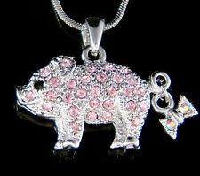 w Swarovski crystal ~Pink Pig Piggy Piglet Lover Charm Pendant Necklace New Cute