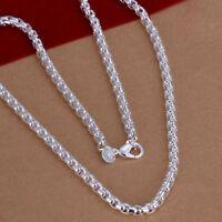 925 Sterling Silver Women's 4mm Round Box Link Chain Necklace w GiftPkg D615