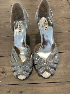 badgley mischka rhinestone Silver Evening Shoes 8.5m