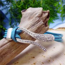 U-Shaped CZ Studded Light Blue Leather Band Bracelet