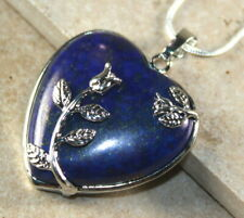 SILVER Elegant Charged Lapis Lazuli Heart Rose Pendant Necklace Reiki Yoga