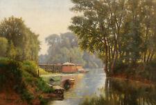 G. MARONNIER tableau huile toile paysage rivière bateau-lavoir bateaux barques
