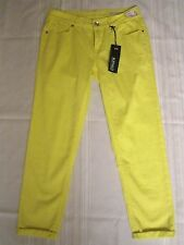 Buffalo Devid Bitton Gibson Cropped Mid Rise Neon Yellow Stretch Jeans 25 X 24