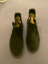 RUSSELL & BROMLEY ZIP OUT BLACK SUEDE LEATHER FLAT BOOTS, SIZE 6,  NEW IN BOX