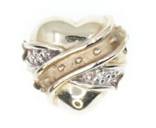 14K Yellow Gold KLJCI R Klein Slide Bracelet Charm Crossover Heart Diamond