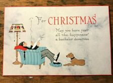 Vintage 1920's Christmas Card For A Bachelor With Original Envelope - Unused