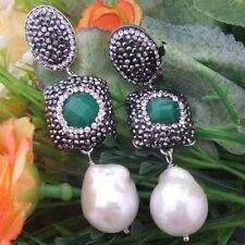 AB041715 18mm White Keshi Pearl Jade Earrings