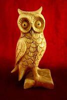 wunderschöne kleine Holzfigur Eule Kauz Holz 13 cm Figur sehr dekorativ