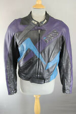 IXS BLACK, SILVER, PURPLE & BLUE LEATHER BIKER JACKET + REMOVABLE PROTECTORS 40""