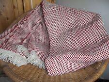 Red Wool Blanket Pom Pom Cream Ivory Handmade Throw Rug