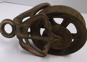 "ANTIQUE CAST IRON PULLEY 6"" PULLEY RUSTIC FARM BARN TOOL, CABIN DECOR"