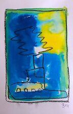 D. Schmidt original 24x16 Zeichnung modern Malerei Grafik expressiv abstrakt d36